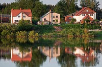 Latvia, Riga, Southeastern Latvia, Latgale Region, Daugava River Valley, Daugavpils, houses by Daugava River