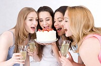 Four young women having a party