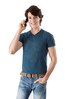 Young man talking on the phone, smiling