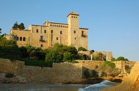 Beach and Castle of Tamarit, Altafulla, Tarragones, Tarragona, Spain