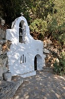Chapel at Voulismeni lake, Agios Nikolaos, Crete island, Greece