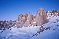 East face of Mount Whitney seen from near Iceberg lake at 12,600 feet 3850m, Sierra Nevada mountains, California