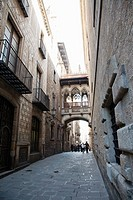 The Barri Gotic or Barrio Gotico in Barcelona in the district of Ciutat Vella and belongs to the old town. It is located southeast of the square Placa...