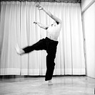Male dancer practicing in a studio