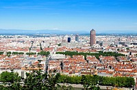 View of Lyon and red tile roofs France