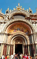 The Patriarchal Cathedral Basilica of Saint Mark in Venice St  Mark's Square  Main entrace