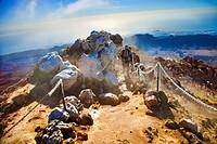 Climbing to the top of Teide. Teide National Park. Tenerife. Canary Islands. Spain.