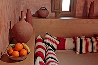 LOUNGE, ECO_LODGE DESIGNED IN THE PURE BERBER TRADITION WITH ATTENTION GIVEN TO COMFORT AND RESPECT FOR THE ENVIRONMENT, TERRES D'AMANAR, TAHANAOUTE, ...