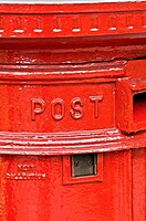 Details of mailbox, typical of London, London, UK, Europe