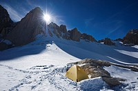 Winter campsite at Iceberg lake 12,600 ft - 3850 m on mountaineers route on Mount Whitney, Sierra Nevada mountains, California