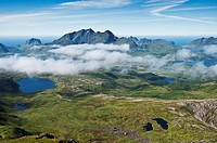 View from Justadtinden, Vestvagoy, Lofoten islands, Norway