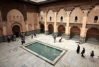 Ali ben Youssef Medersa, Traditional islamistic theological university in the Medina of Marrakesh, Marruecos.