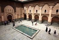 Ali ben Youssef Medersa, Traditional islamistic theological university in the Medina of Marrakesh, Marruecos.