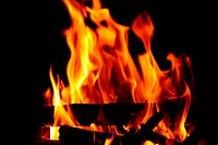 Close_up of burning wood