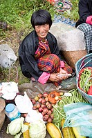 Bhutan. Trongsa, the market, woman                                                                                                                    ...