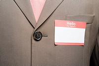 Businessman with blank name tag