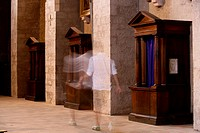 Man walking in church ...