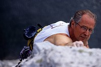 Man rock climbing ...