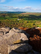 Autumn view over Dartmoor National Park from Hayne Down over Manaton, Devon, England, United Kingdom