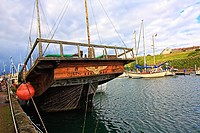 Old, historical ship in the harbour, Eyemouth, Scotland