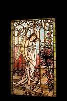 Angel at the gates of heaven circa 1900   Stained glass window  Smith Museum of Stained Glass WIndows