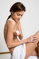 Woman holding bath salts