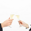 toasting hands with champagne glass