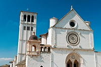 Facade of the Papal Basilica of St Francis of Assisi, Assisi, Umbria, Italy