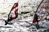 Italy, Lombardy, Limone del Garda, windsurfers