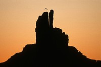 USA, Arizona, Monument Valley, the Mittens ay sunrise
