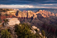Sunset at Bright Angel Point, Grand Canyon North Rim, Arizona, USA
