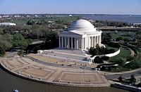 USA, Washington DC., Jefferson Memorial aerial view