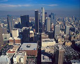 USA, California, Los Angeles, downtown aerial view
