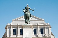 Statue of Philip IV and Teatro Real, Plaza de Oriente square, Madrid, Spain