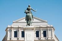Statue of Philip IV and Teatro Real, Plaza de Oriente square, Madrid, Spain