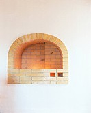 Curved brick fireplace