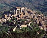 Italy, Tuscany, San Gimignano aerial view