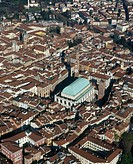 Italy, Veneto, Vicenza main square from air