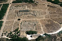 Italy, Sicily, Selinunte. Greek ruins of temple from the air