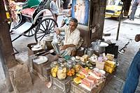 Teashop on street , Calcutta now Kolkata , West Bengal , India