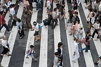 People crossing street in Japan
