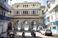 Traditional houses of Indian architecture at Chand pole Road , Udaipur , Rajasthan , India