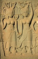 Angkor Wat temple, detail of bas_relief Cambodia.