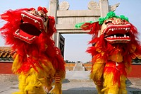 Chinese Lion Dancing In Temple Of Heaven
