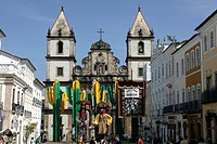 Brazil, Bahia, Salvador de Bahia. Pelourinho historical district.San Francisco Church.