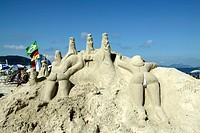 Brazil, Rio De Janeiro, Copacabana Beach. Sand sculpture