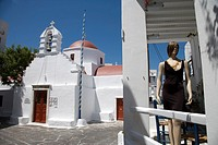 Greece. Cyclades Islands. Mykonos,church