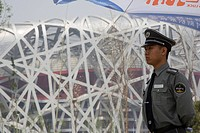 China, Beijing,The Olympic Stadium, The Bird´s Nest, army soldier