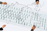 Hands drawing the map of the world with computer mouse