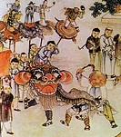 paint about group of ancient people playing iron dancing for Chinese New Year